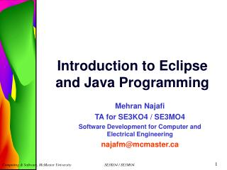 Introduction to Eclipse and Java Programming