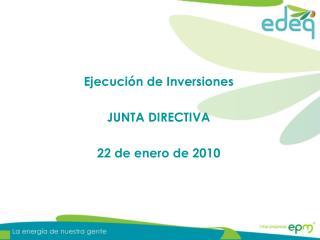 Ejecución de Inversiones JUNTA DIRECTIVA 22 de enero de 2010