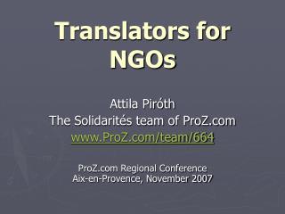 Translators for NGOs