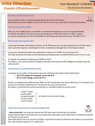 Réunion mensuelle du  Jeudi 27 JUIN 2013