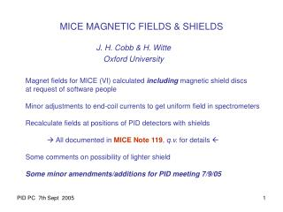 MICE MAGNETIC FIELDS & SHIELDS