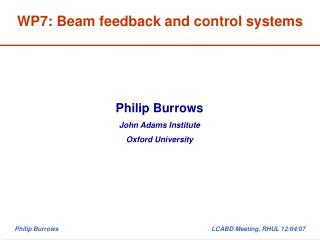 WP7: Beam feedback and control systems