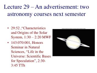 Lecture 29 – An advertisement: two astronomy courses next semester