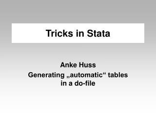 Tricks in Stata