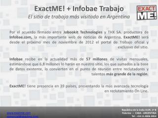 ExactME! + Infobae Trabajo El sitio de trabajo más visitado en Argentina