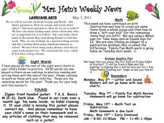 Mrs. Hein's Weekly News May 3, 2013