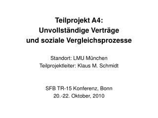 Teilprojekt A4: Unvollständige Verträge  und soziale Vergleichsprozesse