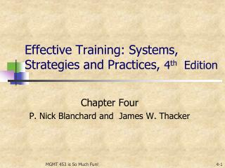 Effective Training: Systems, Strategies and Practices,  4 th   Edition