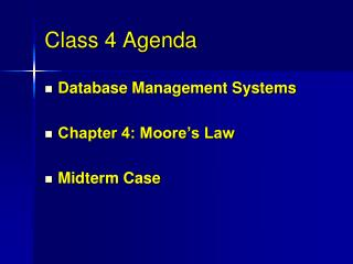 Class 4 Agenda