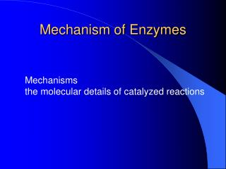 Mechanism of Enzymes