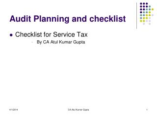 Audit Planning and checklist
