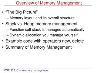 Overview of Memory Management