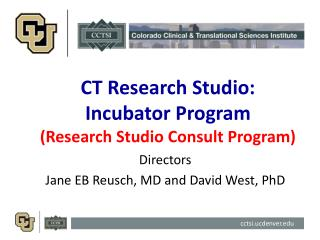 CT Research Studio:   Incubator Program (Research Studio Consult Program)
