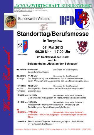 Standorttag/Berufsmesse in Torgelow 07. Mai 2013 09.30 Uhr – 17.00 Uhr im Ueckersaal der Stadt