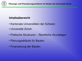 Kantonale Universitäten der Schweiz  Universität Zürich