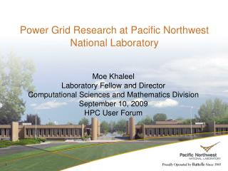Power Grid Research at Pacific Northwest National Laboratory