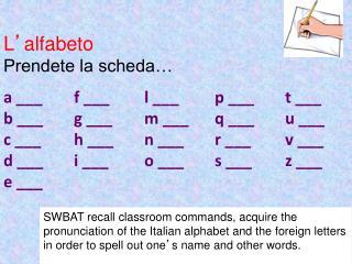 L ' alfabeto Prendete la scheda… a ___f ___l ___p ___ t ___