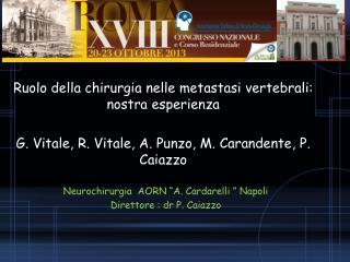 """Neurochirurgia  AORN """"A. Cardarelli """" Napoli Direttore : dr P. Caiazzo"""