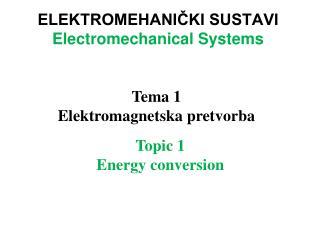 ELEKTROMEHANIČKI SUSTAVI  Electromechanical Systems