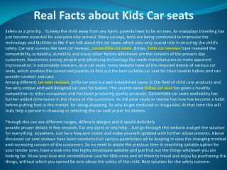 Real Facts about Kids Car seats