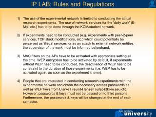 IP LAB: Rules and Regulations