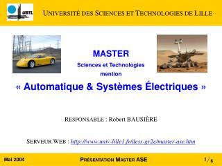 MASTER  Sciences et Technologies mention «Automatique & Systèmes Électriques»