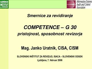 Smernice za revidiranje COMPETENCE – G 30 pristojnost, sposobnost revizorja