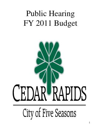 Public Hearing  FY 2011 Budget