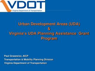 Urban Development Areas (UDA) &  Virginia's UDA Planning Assistance  Grant Program