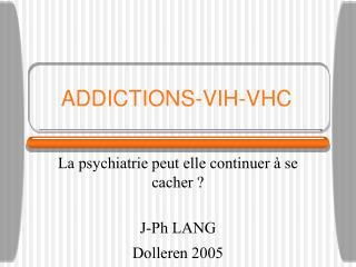 ADDICTIONS-VIH-VHC