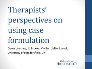 Therapists' perspectives on using case formulation