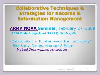 Collaborative Techniques  Strategies for Records  Information Management