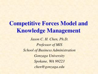 Competitive Forces Model and Knowledge Management