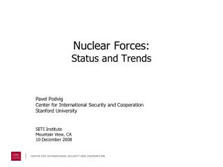 Nuclear Forces: Status and Trends