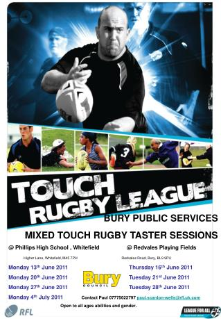 BURY PUBLIC SERVICES  MIXED TOUCH RUGBY TASTER SESSIONS