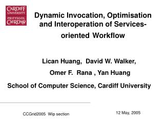 Dynamic Invocation, Optimisation and Interoperation of  Services-oriented Workflow