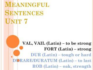 Meaningful Sentences Unit 7