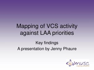 Mapping of VCS activity against LAA priorities