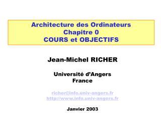Architecture des Ordinateurs Chapitre 0 COURS et OBJECTIFS