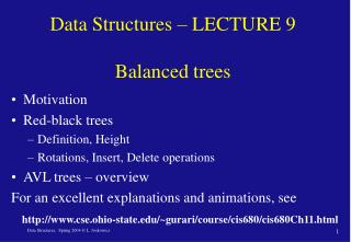 Data Structures – LECTURE 9  Balanced trees