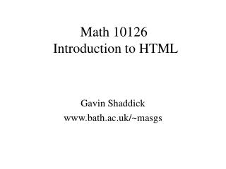 Math 10126  Introduction to HTML