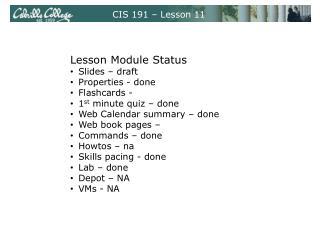 CIS 191 – Lesson 11