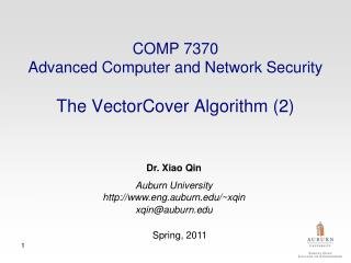 COMP 7370  Advanced Computer and Network Security The VectorCover Algorithm (2)