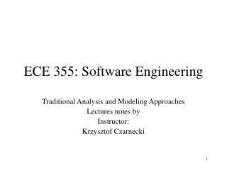 ECE 355: Software Engineering