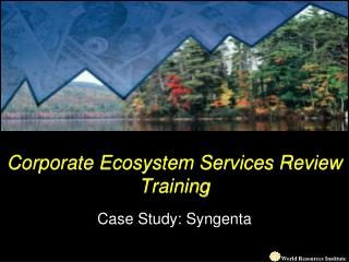 Corporate Ecosystem Services Review Training Case Study: Syngenta