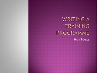Writing a training programme