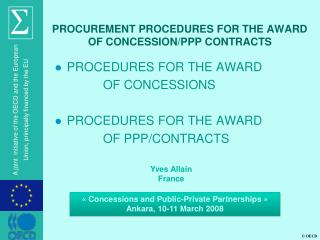 PROCUREMENT PROCEDURES FOR THE AWARD  OF CONCESSION