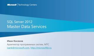 SQL Server 2012 Master Data Services