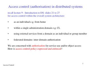 Access control authorisation in distributed systems