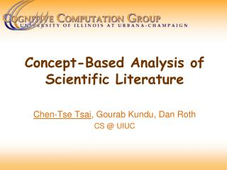 Concept-Based Analysis of  Scientific Literature